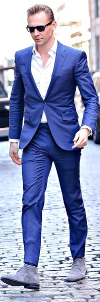 Men's night outfit, men's blue suit, gray suede boots