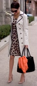 trench coat with animal print dress