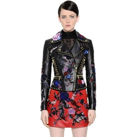 Fall Layering, floral leather embellished moto jacket by Zuhair Murad