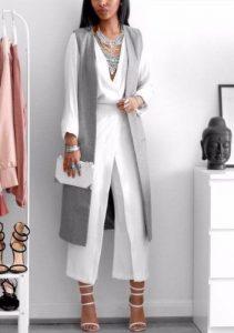 Fall Layering, white wide leg pants with white blouse, long gray vest, fall fashion