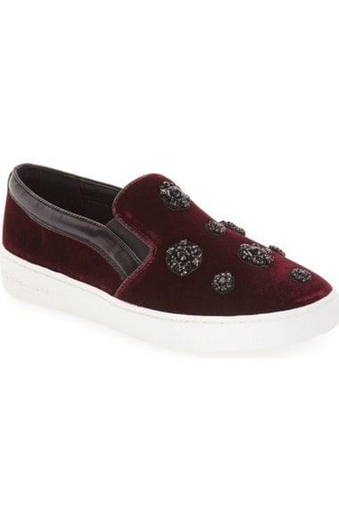 MICHAEL Michael Kors 'Keaton' Slip-On Sneaker plum, black leather