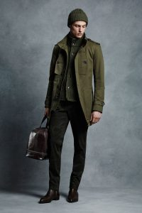 men's monochromatic outfit olive