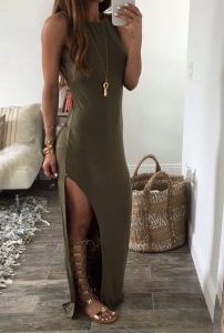 Transition to fall dresses, olive maxi dress