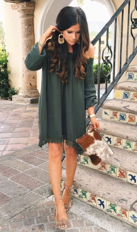 ransition to fall fashion, olive off the shoulder long sleeve dress