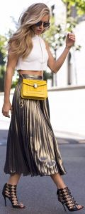 Fall Essentials, Metallic Skirt, gold pleat skirt, ivory crop top