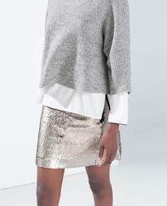 Fall Essentials, Metallic Skirt, gray sweater, silver mini skirt, white shirt