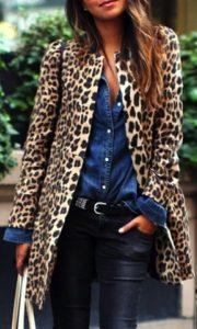 Fall Essentials, leopard topper, leopard jacket, denim shirt, leather pants