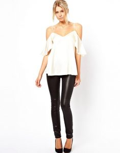 Flirty Blouses, Asos cami cold shoulder with ruffle sleeve, leather leggings