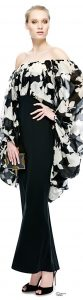 Flirty Blouses, YSL black and cream print blouse and black skirt