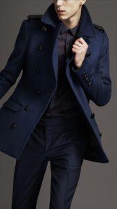 Men's Fall Jacket Trends, Burberry blue men's peacoat