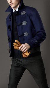Men's Fall Jacket Trends, men's blue duffle coat