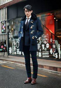 Men's Fall Jacket Trends, men's blue fur collar duffle coat with suit