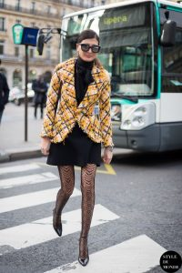 Stylish Tights That Wow, Black dress, yellow plaid blazer and black lace tights
