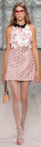 Stylish Tights That Wow, Giamba RTW Spring 2015 floral dress and nude polka dot tights-min