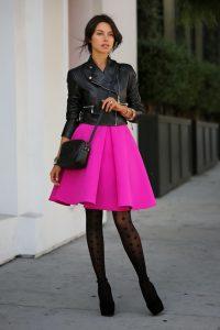 Stylish Tights That Wow, Viva Luxury, fuchsia skirt, polka dot tights, black leather jacket-min