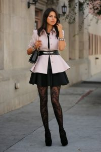 Stylish Tights That Wow, Viva Luxury, Peplum Top and black skirt with black lace tights