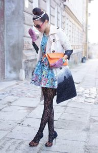 Stylish Tights That Wow, floral dress, print coat, black lace tights