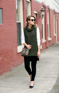 5 Things That You Never Expect In Fall Wardrobe Essentials, olive green sleeveless sweater and black pants, animal print bag