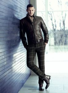 fall gold cup attire, men's plaid pants, leather jacket, Hugo Boss