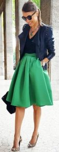 fall leather jacket with green skirt