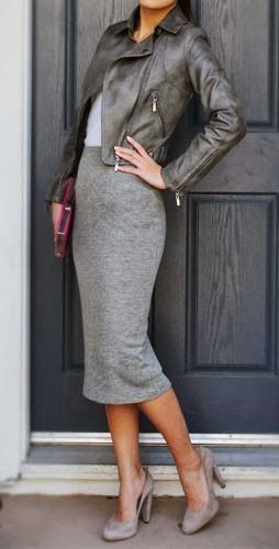 Fall workwear, leather jacket with midi pencil skirt
