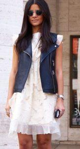 fall leather vest with chiffon sundress
