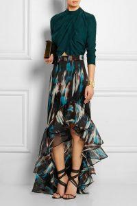 Flirty Blouses, Mathew Williamson ruffled printed silk maxi skirt, green silk blouse