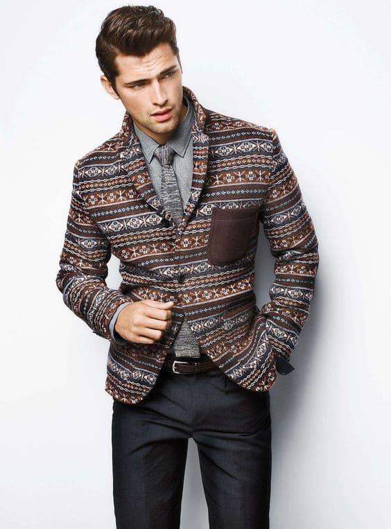 Men's business casual, print blazer, print swacket