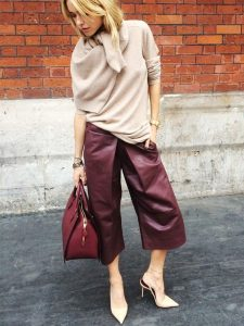 How to Wear Leather Pants, burgundy leather culottes and tan sweater high heels