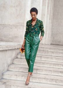 How to Wear Leather Pants, green leather cropped pants and print blouse
