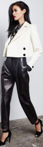 How to Wear Leather Pants, leather cropped pants and white blazer with blouse, leather pants office attire