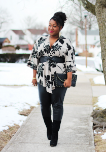 How to Wear Leather Pants, plus size women wearing leather pants and floral blouse