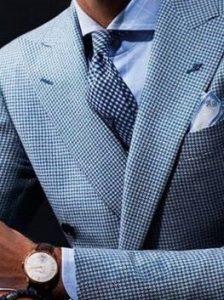 Men's pattern suit, small blue check suit