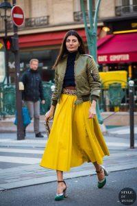 Women's bomber jacket, yellow maxi skirt, embellished belt, bomber jacket