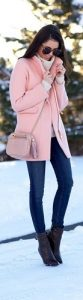 Blush Pink Winter Jacket with Jeans