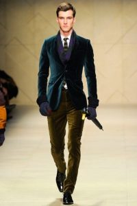 Men's holiday party attire, office party outfit, green suede blazer