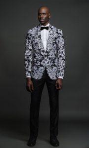 Men's pattern suit, black, white, and gray print dinner jacket