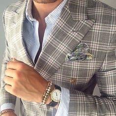 Men's pattern suit, plaid suit with striped shirt