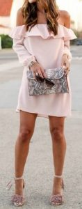 off the shoulder blush pink ruffle dress