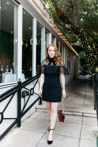 Holiday Outfit black self portrait lace overlay dress with red studded handbag and velvet heels