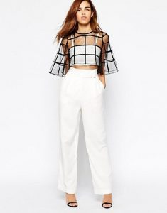 Holiday attire, theater outfit, wide leg white trousers and Asos mesh black top