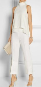 Holiday attire, what to wear to office party, white pants and white silk chiffon top