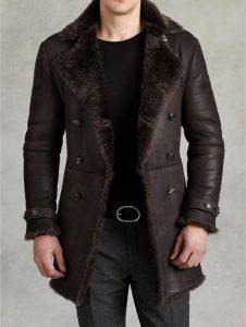 Men's chocolate shearling coat by John Varvatos