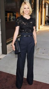 New Years Eve Outfit, Black Lace Top and Blue Wide Leg Trousers, January Jones