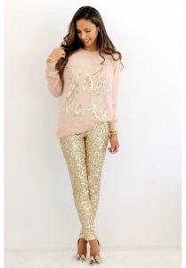 Oh la la sweatshirt and gold sequin leggings