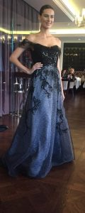 Rene Ruiz beaded off the shoulder gown with tulle skirt