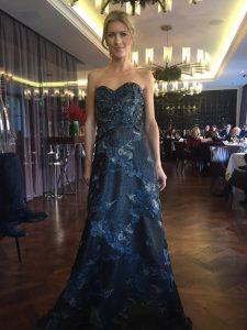 Rene Ruiz beaded strapless gown
