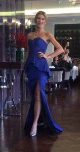 Rene Ruiz blue strapless gown