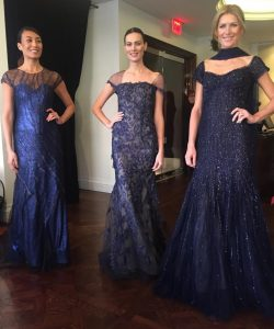 Rene Ruiz navy and blue beaded gowns