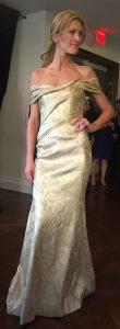gold off the shoulder gown Rene Ruiz